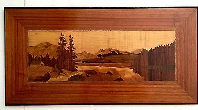 """Wood Marquetry Plaque Picture 24"""" Vtg Mountains Exotic Wood Inlay Mid Century"""