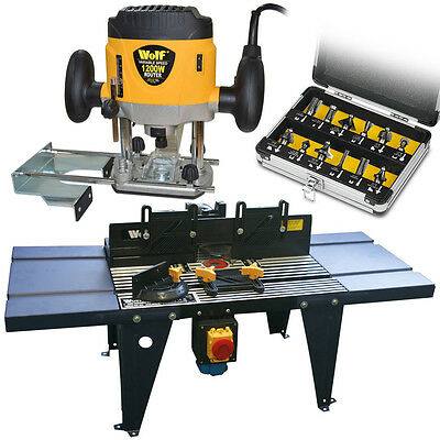 Wolf 1200w Plunge Router Variable Speed, 12 Router Bits & Table Kit