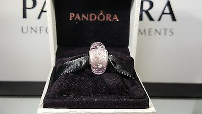New Authentic Pandora pink fizzle murano glass charm/bead S925 ALE