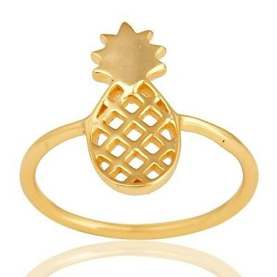 925 Sterling Silver 14K Gold Plated Handmade Pineapple Design Ring Jewelry