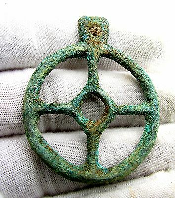 Roman Bronze Wheel Of Fortune Amulet - Superb Ancient Wearable Artifact - H214