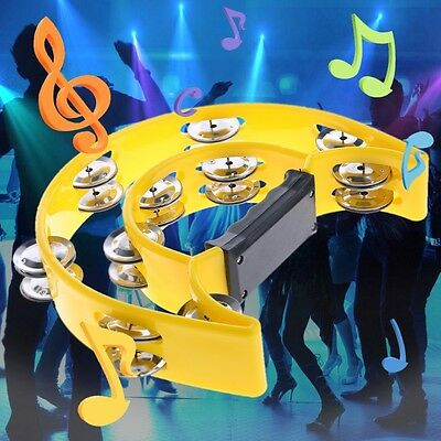 Musical Double Half Moon Tambourine Drum Kit Hi Hat Percussion Gift Party KTV