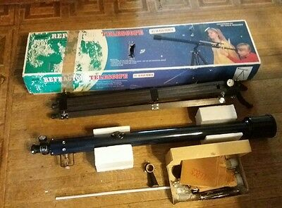 Vintage Sears Refractor Telescope in box 41 to 450 Power At-Azimuth Mount ++
