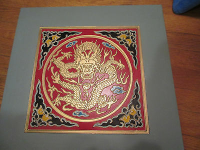 1 Ornate Vintage Chinese Dragon Wood Ceiling Tile Bas-Relief (Raised Design)