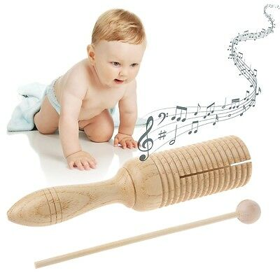 Single Wooden Agogo Guiro Tone Block Percussion with Beater Musical kid Toy Gift