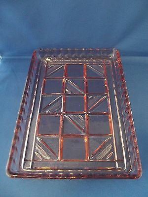 A Large Art Deco Style Pink Glass Dressing Table Tray
