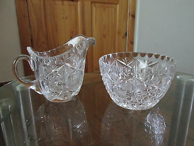 Vintage Crystal cut glass sugar bowl +cream/milk jug  1930s.