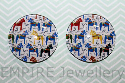 1 x Mini Dala Horse Pattern 25x25mm Glass Dome Cabochon Cameo Nordic Norway Pony