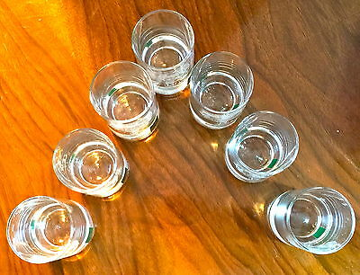 Vintage 'collins Crystal'  Clan Crest Dram/shot Glasses - Set Of 7