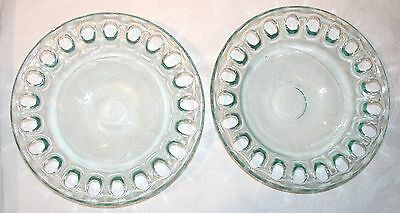 Vintage Pr Of 2 Heavy Recycled Green Glass Serving Bowls Holey Edge