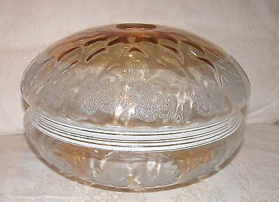 "VINTAGE LARGE GOLD/AMBER GLASS SHADE WITH ETCHED BOWS  12"" w x 7  1/2"" tall"