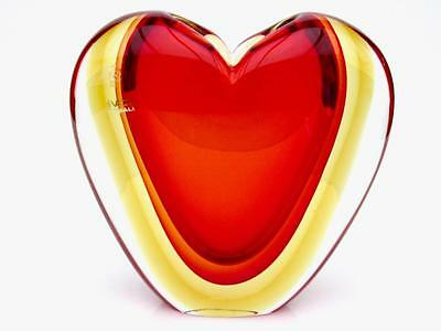 SIGNED Huge Murano Italian Art Glass Submerged Heart Vase by Luigi Onesto 8kg