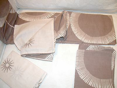 Vintage Cotton Blend Double Duvet Cover  & Pr Of Pillow Slips - Starburst Beiges