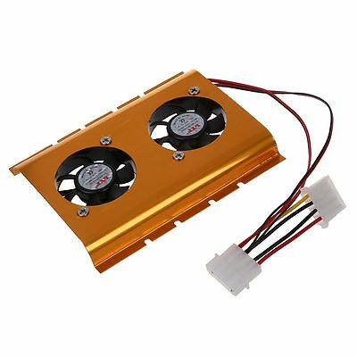 """3.5"""" Hard Disk Drive HDD Dual Fan Cooling Cooler Gold Tone for Desktop PC O8N7"""