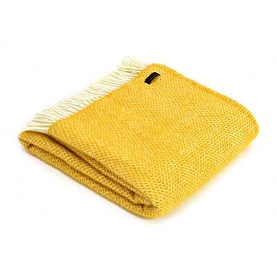 Tweedmill Pure New Wool Beehive Throw Blanket Yellow Made In Uk