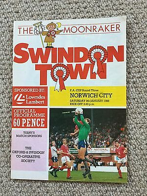 Swindon V Norwich City Football Programme 1988 F A Cup Round 3