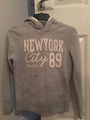 girls grey pullover hoody age 10-11