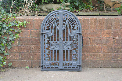 57 x 38.3 cm old cast iron fire / bread oven door/doors /flue/clay/range/pizza