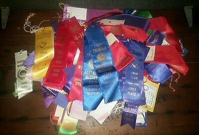 Large lot of Horse Show and Swimming 1960's 1980s Ribbons Awards