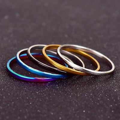 NEW 5 Pcs Silver Gold Ring Band Wrap Rings Women Stainless Steel Jewelry Gift