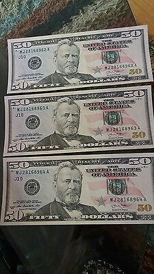 $50 US currency lot of 3 with consecutive numbers lightly circulated 2013