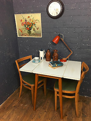 Vintage / Retro Formica Drop Leaf Kitchen / Dining Table, White, 1950's - 1960's