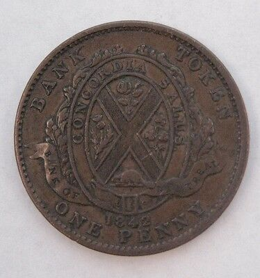 1842 Canada Bank of Montreal One Penny Token