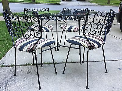 Mid Century Dining Set Table Chairs Umanoff Grenada Wrought Iron Patio Kitchen