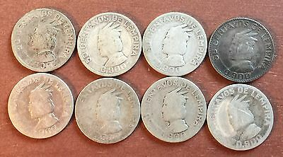 Honduras Silver 50 Centavos - lot of 8
