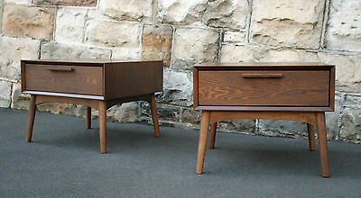 2 x Walnut Bedside tables Mid Century Modern 1960s style drawers side lamp stand