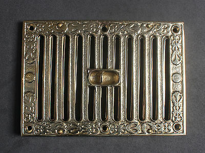 "9"" x 6"" SOLID CAST BRASS OPEN CLOSE AIR VENT VICTORIAN ANTIQUE BRITISH - AV04br"