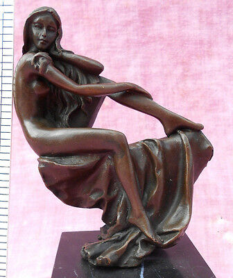 """Hot Cast Solid Bronze Nude Lady Figurine On Marble Base 6"""" Tall Perfect Conditio"""