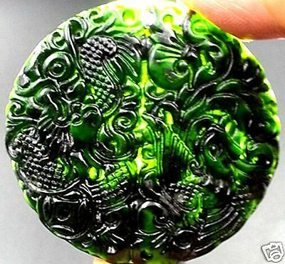 Natural Hetian black green jade hand-carved pendant dragon and phoenix