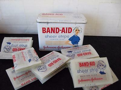 Rare Vintage Band-Aid Tin Box- Junior Size with 50's 60's woman- With Bandages