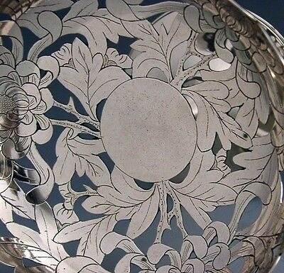STUNNING CHINESE EXPORT SOLID SILVER PIERCED DISH TAZZA c1900 ANTIQUE