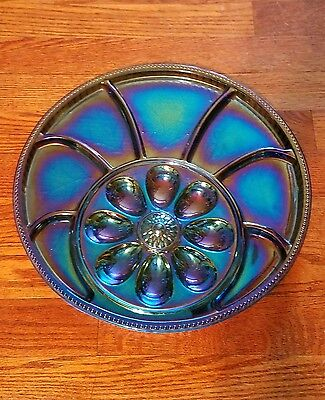 Vintage Indiana Blue Carnival Glass Egg Plate & Relish Tray