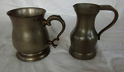 TWO VINTAGE PEWTER TANKARDS believe DUTCH