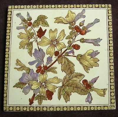 "Antique Victorian ""Botanical"" Tile c1880"