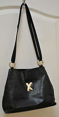 """PALOMA PICASSO Black Leather with Gold """"X"""" Accent Shoulder Handbag"""