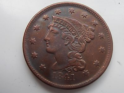 1841 U.S.A beautiful braided large cent commemorative restrike cent 150 years