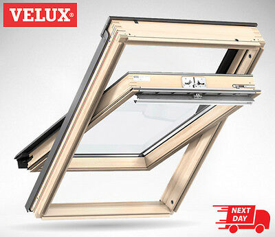 GENUINE VELUX Pine Centre Pivot Roof Window Rooflight Loft Skylight 78cm x 98cm