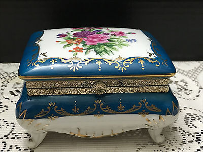 Norleans Hinged Footed Porcelain Trinket/Jewelry Box Japan