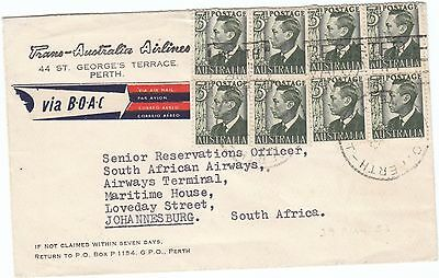 TAA Airmail from Perth 1953 over Indian Ocean route to Johannesburg 2/- rate