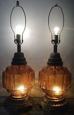 Vintage Hollywood Regency Amber Glass 2 Way 2 Large Table Lamps Retro~Brass