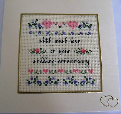 "Wedding Anniversary Card Completed Cross Stitch Hearts& Flowers 5.5""sq"