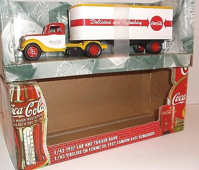 ERTL 1937 Semi Cab Trailer Truck BANK Die-Cast Mint Boxed 1:43