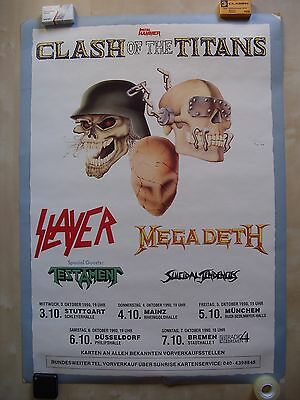 Clash Of The Titans Poster Megadeth Slayer Testament Original Tourposter A1