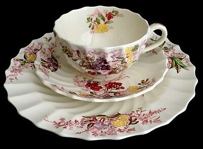 Trio Set of Vintage Copeland Spode Fairy Dell Large Tea Cup, Saucer and Plate