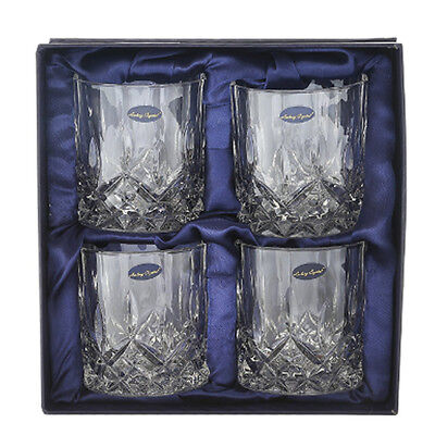 Double Old Fashioned Crystal Glass Whiskey Set of 4 Scotch Vodka Mixed Drinks