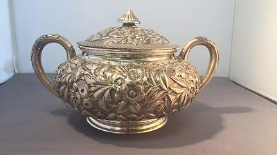 Sugar Bowl with Lid in Repousse by J.E Caldwell & Co, Sterling Silver